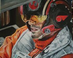 LARGE Star Wars: The Force Awakens, Poe Dameron original acrylic painting 90 * 90