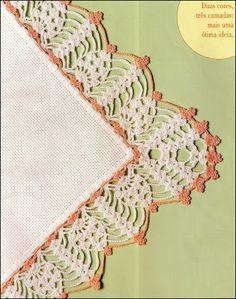 CROCHE COM RECEITAS: Barrado de croche no tecido