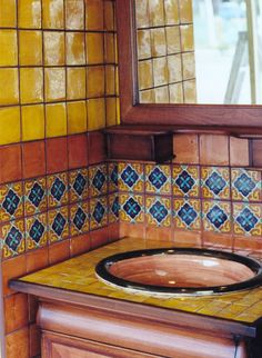There's handmade and hand-painted Talavera tile everywhere in this gold and earth-hued bath. Mexican Hacienda, Hacienda Style, Mexican Style, Southwestern Home, Southwest Style, Santa Fe Style, Talavera Pottery, Deco Boheme, Mexican Designs