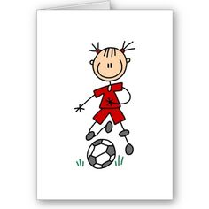 Red Girls Soccer Card by stick_figures