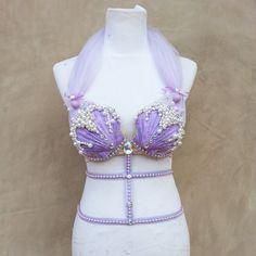 ariel inspired mermaid rave bra by Euphorictreasures on Etsy, $80.00