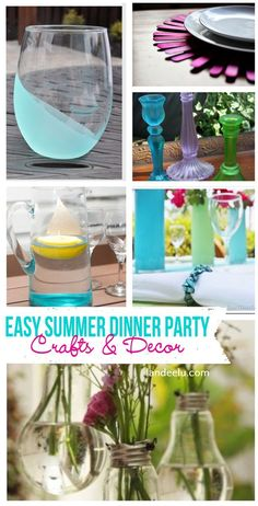 Easy Summer Dinner Party Decor & Craft DIY Ideas with Tutorials-  Napkin rings, plate chargers, centerpieces and more! landeelu.com