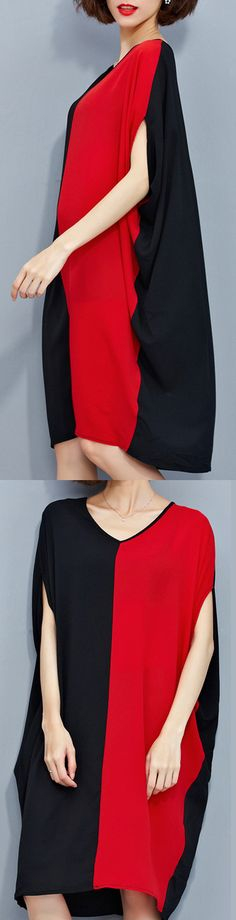 stylish-red-black-patchwork-chiffon-polyester-dresses-trendy-plus-size-traveling-clothing-top-quality-batwing-sleeve-clothing