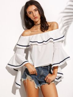 White Striped Trim Ruffle Off The Shoulder Top