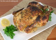 Mustard, Lemon, and Herb Slow Roasted Chicken (For the Love of Cooking) Whole Roasted Chicken, Stuffed Whole Chicken, Garlic Chicken, Chicken Wings, Chicken Wing Recipes, Beef Recipes, Cooking Recipes, Healthy Recipes, Food Articles