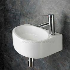 Right Hand Wall Hung Balsamo 42cm x 29cm Bathroom Basin - www.clickbasin.co.uk