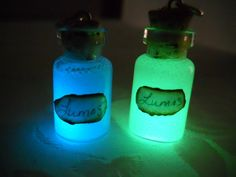 Glow In The Dark Harry Potter Mini Glass Charm Bottle with Lumos Spell Label