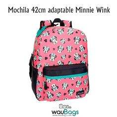 La Mochila de 42cm. Minnie Wink adaptable a carro de Disney tiene un compartimento principal con cierre de cremallera, tres bolsillos interiores y un bolsillo frontal para guardar pequeños accesorios y acceder fácilmente.  Además, dispone de banda trasera para llevar la mochila enganchada a un carro o maleta.  @waubags.com #disney #minnie #mochila #adaptable #waubags