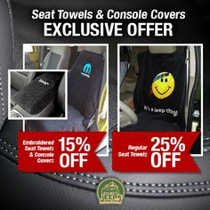 Take advantage of our exclusive seat towels & console covers offer and shop now! Multiple styles & colors available now, don't miss out!  Start shopping now: http://www.justforjeeps.com/jeep-seat-towels.html  #justforjeeps #jeeps #jeeplovers #itsajeepthing #lovejeep #allthingsjeep #jeepseatcovers #seatcovers #exclusiveoffer #savings #sale #mopar #jeeploversonly