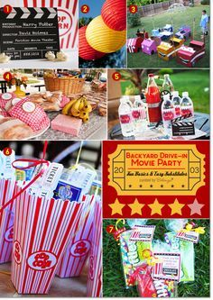 Backyard movie party ideas with fun props, popcorn, candy, and picnic food. A fun theme for a boy's birthday party theme, Summer Backyard Parties, Backyard Movie Party, Outdoor Movie Party, Backyard Movie Nights, Backyard For Kids, Backyard Ideas, Wedding Backyard, Backyard Privacy, Backyard Patio
