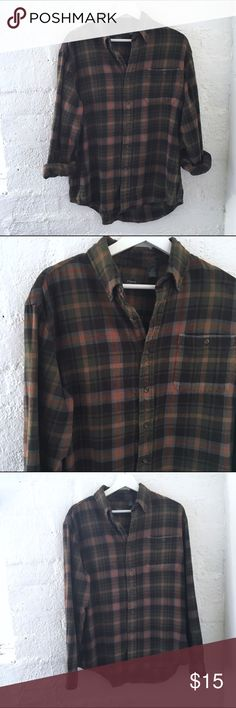 ARROW Ex-Boyfriend Flannel Long sleeve  Pointed collar  Front patch pocket Buttons at cuff  Buttons down front  Green and brain plaid  100% Cotton  Size: Large    Condition: no stains, wear or tears! Soft 😍  ☑️No Pets  ☑️Non-Smoking home  ☑️Every item steamed throughly before shipped!  💌 Ships from Santa Monica, CA  🗝Follow me on Instagram! @koukil1908 ask to have a video of the item ✌️ Arrow Tops Button Down Shirts