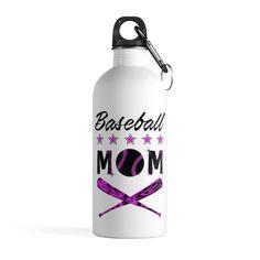 Baseball Mom Water Bottle Mothes Day Gift Mom Birthday Gift Purple + Carabiner & Key Chain Ring - 14 oz - 14oz / White