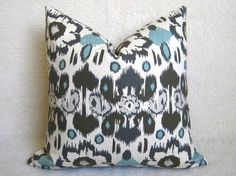 Floral Ikat Decorative Pillow - Light Blue - Gray - Cream - 18 inch - BOTH SIDES - Designer Pillows - Ikat Pillow - Throw Pillow. $28.00, via Etsy.