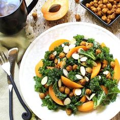 Spicy skillet chickpeas dress up this delicious and nourishing kale salad.