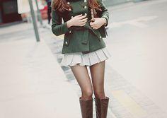 Green jacket and skirt Korean fashion Cute Korean Fashion, Japanese Fashion, Cute Fashion, Asian Fashion, Ulzzang Fashion, Kpop Fashion, Kawaii Fashion, Womens Fashion, Lady Like