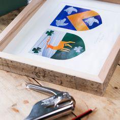 Modern Coat of arms. Reclaimed Wooden Frame. Hand made Irish gift. Irish design. Irish Wedding Gift Idea.