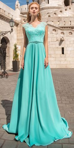 2dae70610c6d Delicate Chiffon V-neck Neckline Cap Sleeves A-line Prom Dress With Lace  Appliques & Beadings