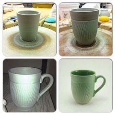 Wheelthrown mug with Light Green glaze