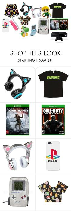 """""""Your Typical Gamer Girl"""" by ghostgrl203 ❤ liked on Polyvore featuring Brookstone, Microsoft, Nintendo and Nexus"""