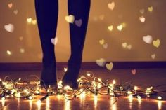 fairy lights and hearts