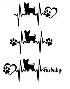 SVG Cut File Cute Yorkie- Yorkshire Terrier - Heartbeat paw with heart - Scrapbook,  Tshirt Tote Silhouette PDF, Dxf, PNG, Studio 3 by TheLazyIdesigns on Etsy