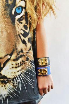 Animal t-shirt & Hermes bracelets.