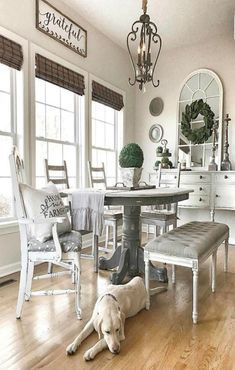 Fantastic Modern Farmhouse Dining Room Makeover Decor Ideas - Page 19 of 78 Dining Room Design, Modern Farmhouse Dining Room, Rustic Farmhouse Living Room, Living Room Decor Rustic, Living Decor, Room Remodeling, Farmhouse Living, Farm House Living Room, Farmhouse Dining Rooms Decor