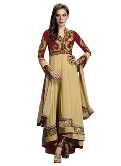 Buy Maroon N Beige Asymmetric Anarkali Suit online from the wide collection of Salwar Kameez.  This Beige,  Maroon  colored Salwar Kameez in Faux Georgette  fabric goes well with any occasion. Shop online Designer Salwar Kameez from cbazaar at the lowest price.
