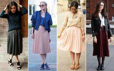 Misture as texturas Várias inspirações para você apostar na saia mídi plissada sem ser ladylike demais - Moda - CAPRICHO