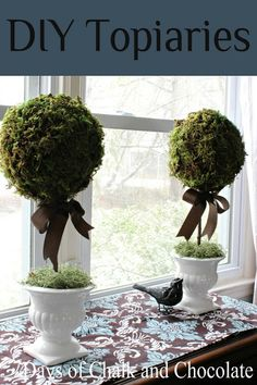 Days of Chalk and Chocolate: How To DIY Topiaries (Paper Mache) Decor Crafts, Home Crafts, Diy Home Decor, Diy Crafts, Ribbon Crafts, Topiary Centerpieces, Moss Decor, Topiary Trees, Topiary Decor