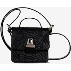 Mm6 By Maison Margiela Shoulder Bag (345 CAD) ❤ liked on Polyvore featuring bags, handbags, shoulder bags, black, croc embossed handbags, crocodile purse, croco handbag, shoulder handbags and man shoulder bag