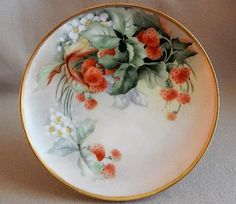 "Haviland Limoges Hand Painted ""Strawberries"" Motif Plate…"