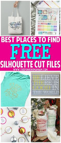 Best Places to find FREE Cut Files for your Silhouette CAMEO - stencils, designs, etc Silhouette Cutter, Silhouette School, Silhouette Vinyl, Silhouette Machine, Silhouette America, Silhouette Cameo Shirt, Free Cut Files For Silhouette, Free Silhouette Designs, Silhouette Cameo Freebies