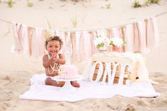 Find on Facebook @ Imag-ine That Photography in Rehoboth Beach DE Girl First Birthday Photoshoot, Cake Smash Photoshoot, Cake Smash On Beach, First Birthday Photoshoot On Beach, One Year Photoshoot, First Birthday Crown, Mixed Baby Photography