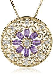 GetAmazonJewellery: 18k Yellow Gold Plated Sterling Silver Gemstone & Diamond Accent Filigree Medallion Pendant Necklace, 18""