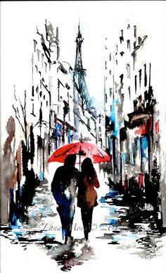 Aquarelle Print de l'Illustration aquarelle originale - Paris parapluie rouge aquarelle de voyage