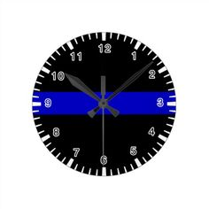 Thin Blue Line Round Clock