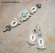 Cassiopeia  bridal cream and mint soutache set by AtelierMagia