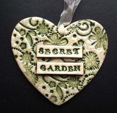 ceramic Secret Garden heart decoration  £7.00
