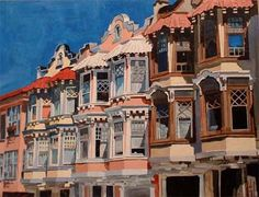 """""""San Fran"""", acrylic on canvas painting of the painted ladies in San Francisco"""