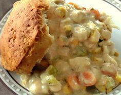 Homemade Crock-Pot Upside-Down Chicken Pot Pie. My healthy version made without butter, oil, and especially no cream-of-huh? soup. For vegetarians substitute the water with vegetable broth and replace the chicken with potatoes!