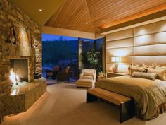 Supersized Chic - 10 Creative Headboard Ideas From Rate My Space on HGTV.wood ceilings and dramatic headboard Dream Master Bedroom, Home Bedroom, Bedroom Decor, Master Bedrooms, Warm Bedroom, Bedroom Ideas, Bedroom Romantic, Master Suite, Guest Bedrooms