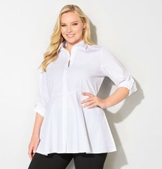 Plus Size White Empire Waist Tunic Shirt