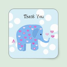 Cute Baby Elephant Thank You Sticker