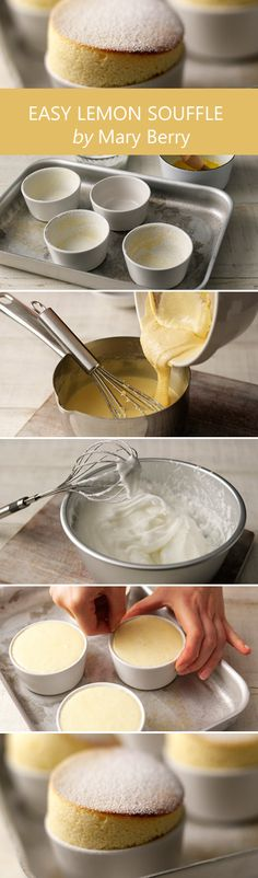 How to make a lemon souffle by Mary Berry Just Desserts, Delicious Desserts, Dessert Recipes, Yummy Food, Healthy Desserts, Lemon Recipes, Sweet Recipes, Baking Recipes, Egg Recipes