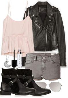 Zara jacket / Rag & bone denim short shorts / Topshop black leather bootie / Adriana Orsini pave jewelry / ASOS mirror glasses / Lip shine