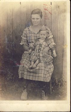 "Mother and Son Literally ""CUT From The SAME CLOTH"" Photo Postcard Circa 1910s."