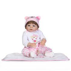 89.99$  Watch now - http://aliqa0.shopchina.info/1/go.php?t=32813434872 - 23Inch Full Body Silicone Reborn Baby Girl Doll Lifelike Newborn Baby Reborn Realistic Kids Birthday Xmas Gift Alive Boneca   #bestbuy