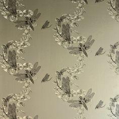 BRADLEY USA │Dragonfly Pewter Wallpaper by Barneby Gates Textiles. Find it at shop.bradley-usa.com! #bradleyusa