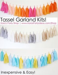 Tassel Garland Kits! Inexpensive and easy! Via Kara's Party Ideas Shop | KarasPartyIdeas.com #tassle #confetti #garland #kits #diy #tutorial #party #banner #shop #ideas